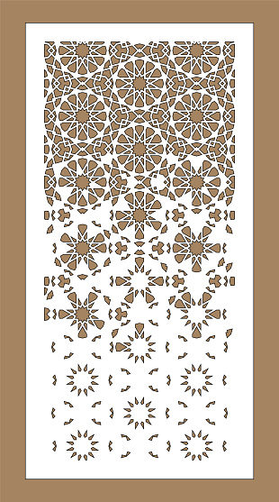Laser cutting. Arabesque decorative vector panel. Template for interior partition in arabic style. Laser cutting design