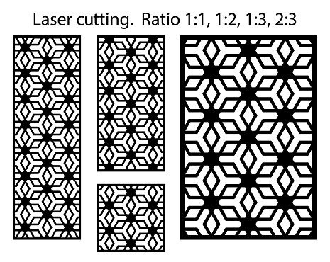 Laser cutting pattern vector template. Arabesque vector panel, screen, fence. Cnc sheet for interior partition in arabic style, laser cutting pattern