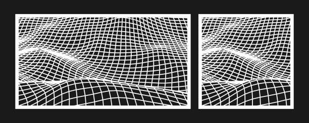 laser-schneidvorlage für dekorative platte. abstrakte landschaft mesh-muster. vektor-illustration. - laservorlagen stock-grafiken, -clipart, -cartoons und -symbole