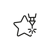 CNC laser design line icon