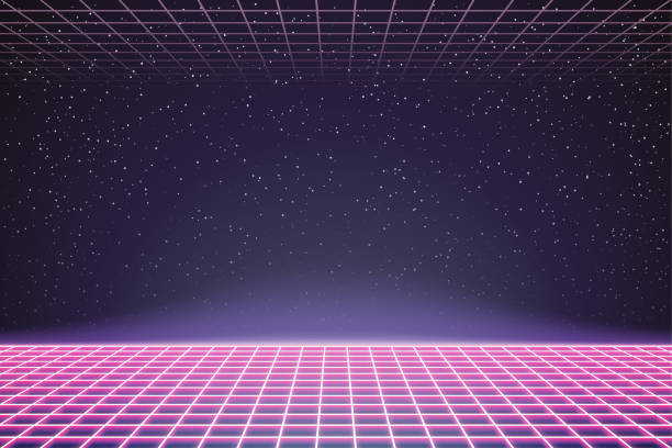 Laser Grid in Deep Space. Retro Futuristic Template in 80s Style. Synthwave, Retrowave, Vaporwave Theme Laser Grid in Deep Space. Retro Futuristic Template in 80s Style. Synthwave, Retrowave, Vaporwave Theme electro music stock illustrations