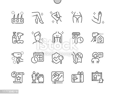 istock Laser hair removal Well-crafted Pixel Perfect Vector Thin Line Icons 30 2x Grid for Web Graphics and Apps. Simple Minimal Pictogram 1177358016