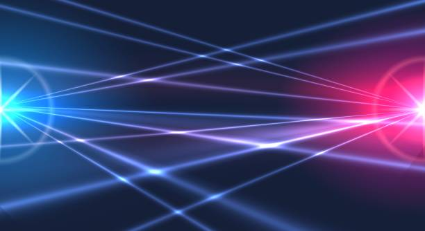 Laser lights background Laser lights background. Abstract light rays nightclub party backdrop, lasers effects show graphic in dark night sky laser stock illustrations