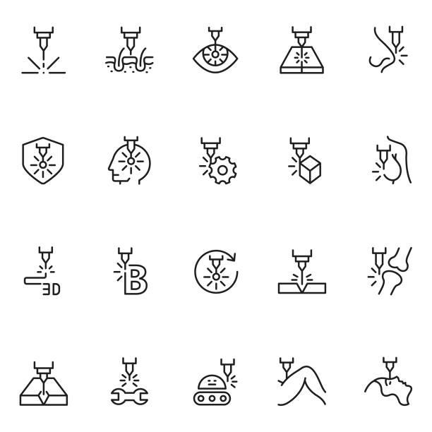 Laser line icon set Laser line icon set laser stock illustrations