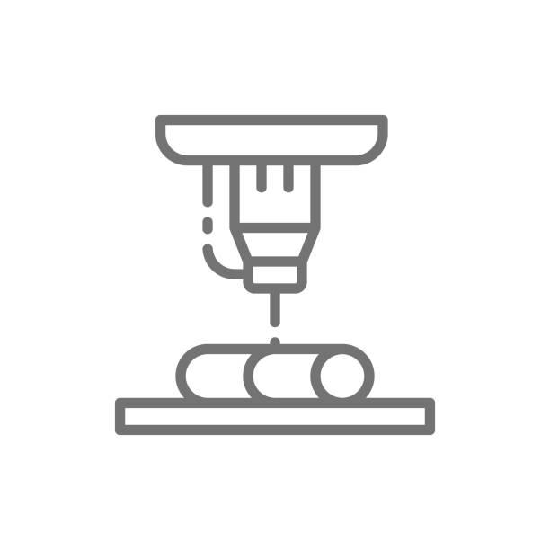 laser-metall-schneiden, industrielle laser linie symbol. - kabelskulpturen stock-grafiken, -clipart, -cartoons und -symbole