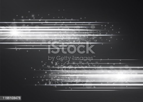 Laser silver white glow vector streams. Motion effect light blinking with glitter sparks on dark background. Light energy shots illustration for hi-tech design. Power neon flow of high speed particles