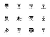 Laser technology black glyph style vector icons