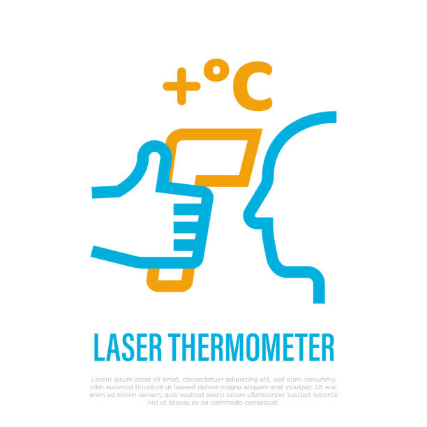 Laser thermometer for detection fever. Thin line icon. Hand holding thermometer near human face. Scan for coronavirus symptom. Healthcare and medical equipment. Vector illustration. Laser thermometer for detection fever. Thin line icon. Hand holding thermometer near human face. Scan for coronavirus symptom. Healthcare and medical equipment. Vector illustration. fever stock illustrations