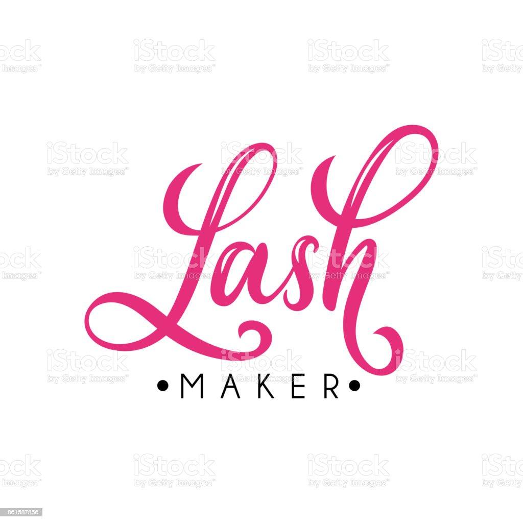 Lash Maker Lettering Logo Design Vector Hand Drawn Royalty Free