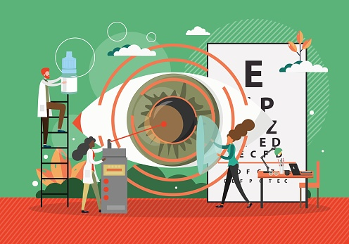 Lasik operation concept vector illustration. Eye surgery with laser equipment. Ophthalmology doctor check eye in hospital. Eye treatment technology