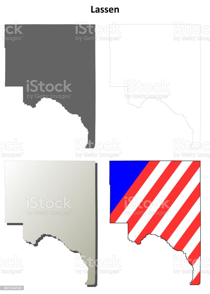 Lassen County California Outline Map Set Royalty Free