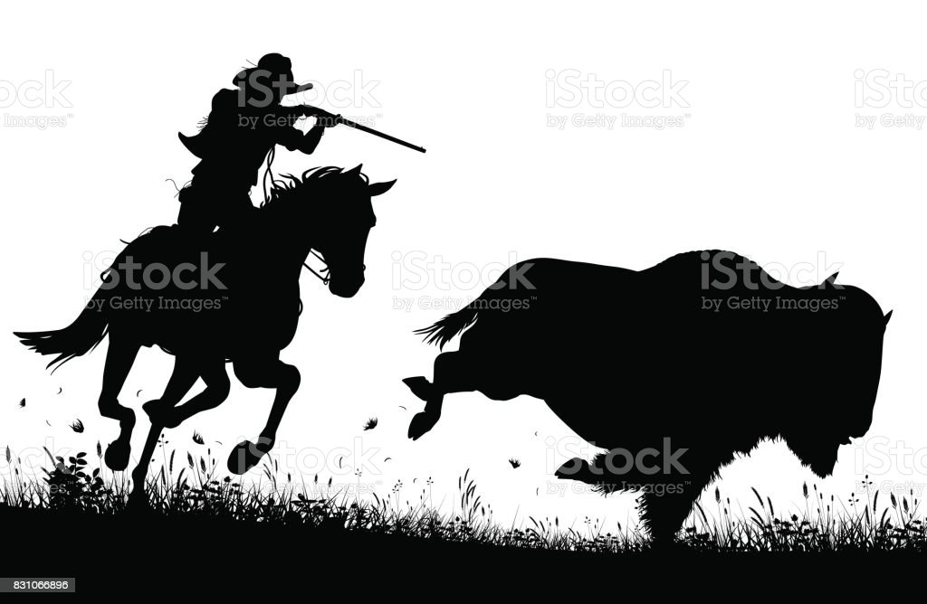 Last bison vector art illustration