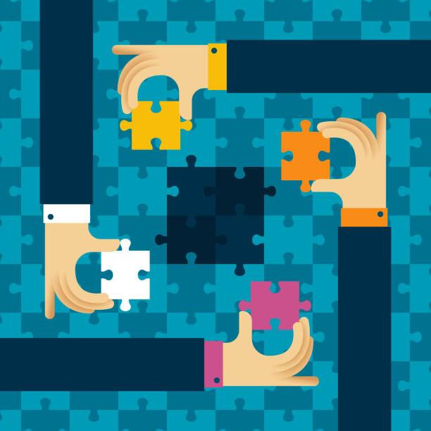 letzte detail teamarbeit vektor konzept mit puzzle im flachen stil - schlüsselfertig stock-grafiken, -clipart, -cartoons und -symbole