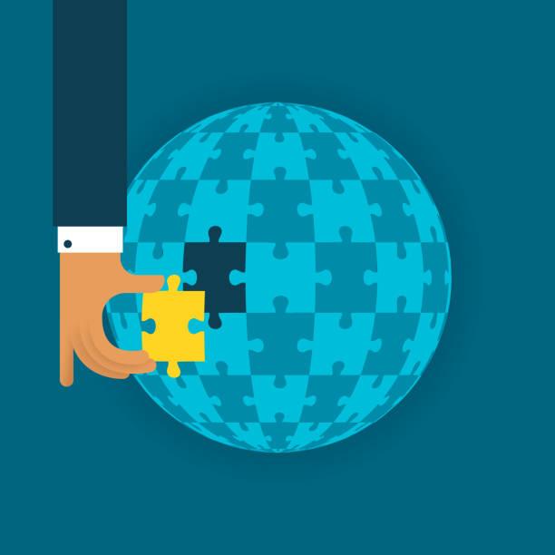 letzte globale detail vektor-konzept mit puzzle im flachen stil - schlüsselfertig stock-grafiken, -clipart, -cartoons und -symbole