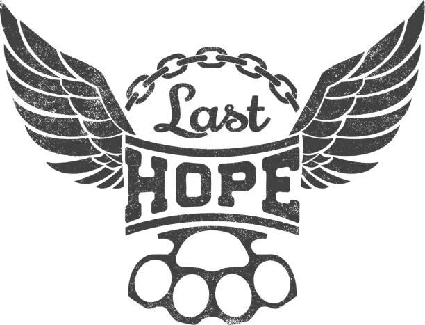 """ilustraciones, imágenes clip art, dibujos animados e iconos de stock de """"última esperanza"""" ilustración vectorial - tatuajes de alas"""