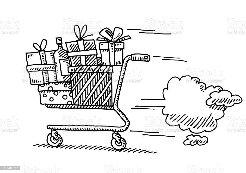 Dessin Shopping dessin shopping de noël de dernière minute – cliparts vectoriels et