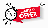 istock Last minute limited offer with clock for sale promo, button, logo or banner or red background. Hurry up sale label with time countdown for limited offer sale or exclusive deal. Special offer badge V2 1262703823