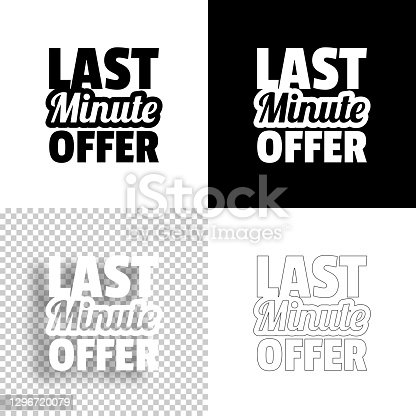istock Last Minute Offer. Icon for design. Blank, white and black backgrounds - Line icon 1296720079