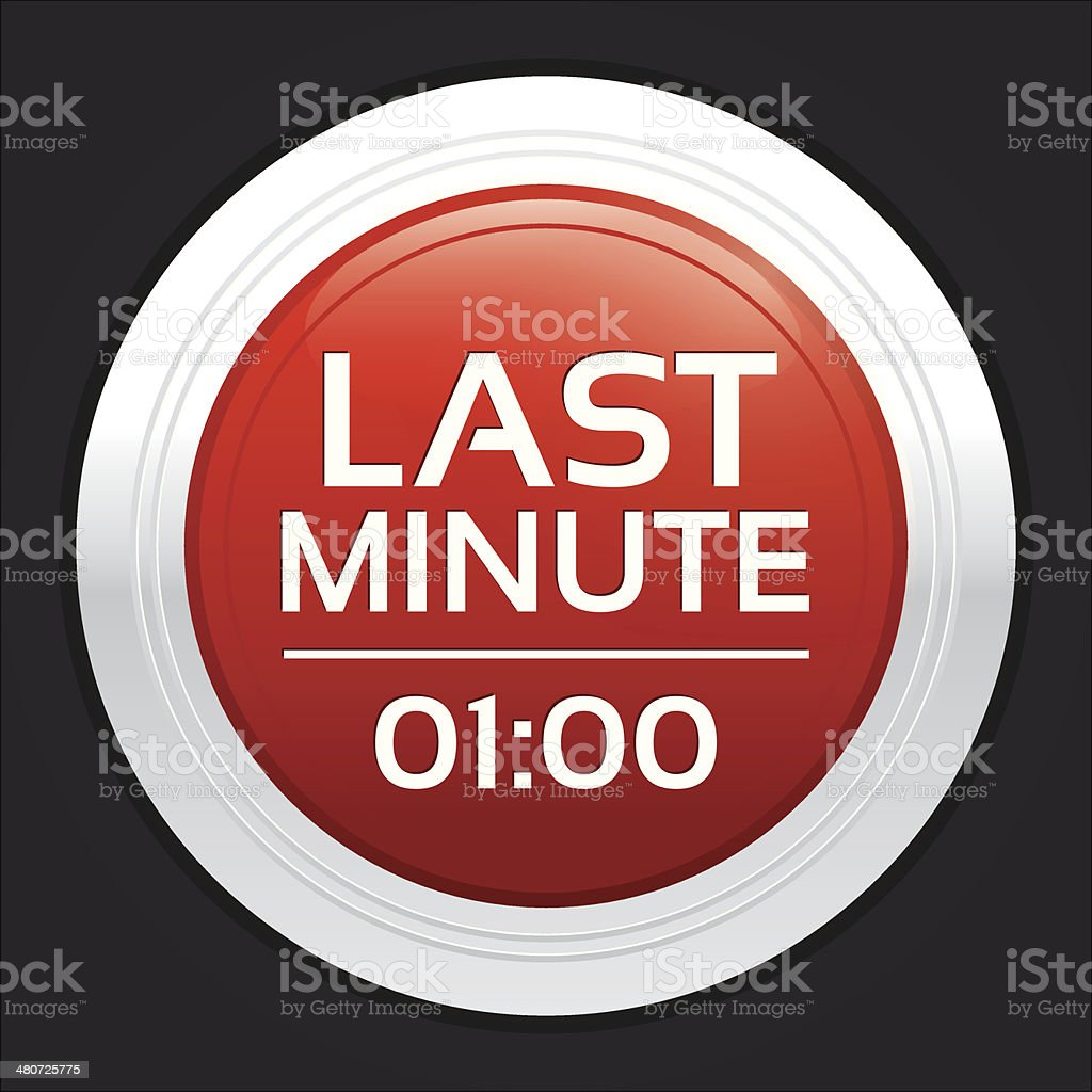 Last minute sale button. Vector round sticker.