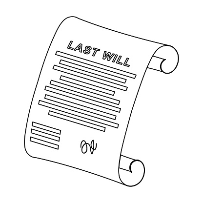 Last Will Icon In Outline Style Isolated On White