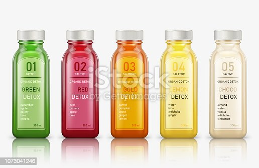 lastic juice bottles isolated on white background. Vector illustration
