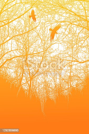 istock Late autumn trees and raven 1292856693