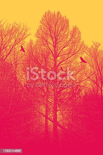 istock Late autumn trees and raven 1293244892