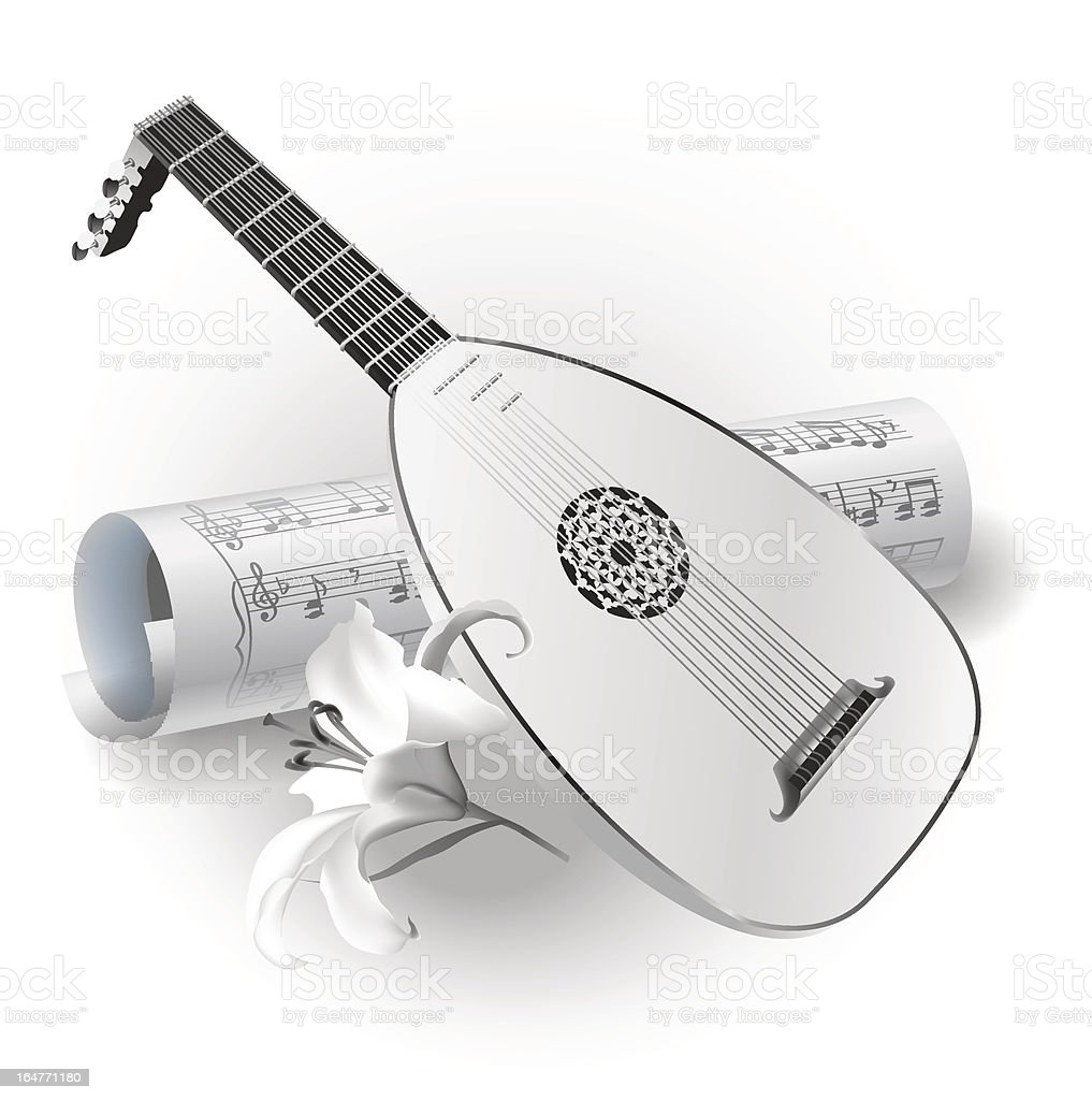 Late Baroque era lute on white background with notes royalty-free stock vector art