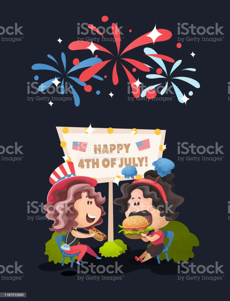 Late night celebrating picnic at 4th of July. Vector illustration in flat cartoon style. - Векторная графика Близость роялти-фри