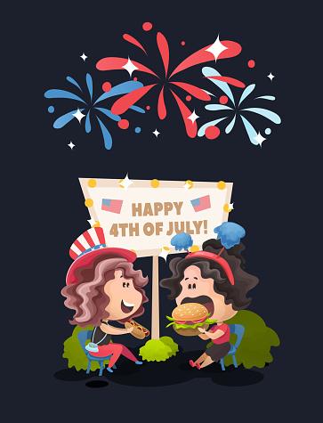 Late Night Celebrating Picnic At 4th Of July Vector Illustration In Flat Cartoon Style — стоковая векторная графика и другие изображения на тему Близость