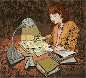 """""""Hand drawn sketch of a young woman writing, doing homework or other paperwork late at night. She could be a writer, teacher grading papers, college graduate student working on her thesis, proof-reader, translator or office worker working late. Colors can be easily changed or textures removed on this layered vector illustration"""""""
