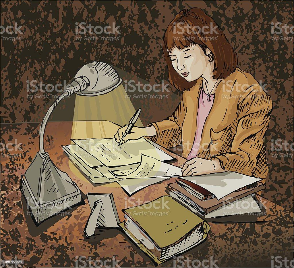 Late night paperwork vector art illustration