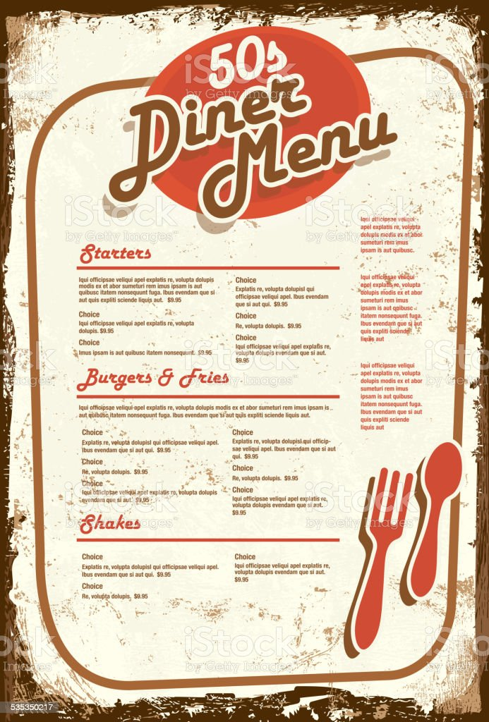 Late Night Retro 50s Diner Menu Layout Aged Paper Royalty Free
