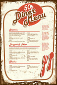 Retro 50s style diner menu.  Aged paper background.  Vector illustration.suitable for restaurant menus, signage on windows or doors . Food and drink, diner, retro. Fork and spoon, old fashioned,50s,booth, style,  diner, entertainment, stools, eat, music, vinyl records, classic style, eclectic, dine in, greasy spoon, late night, drive in, family fun.