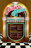 Late night retro 50s Diner  menu layout with jukebox