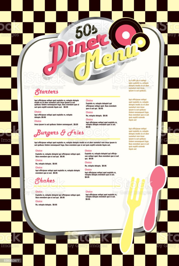 Late Night Retro 50s Diner Menu Layout Yellow Check Royalty Free
