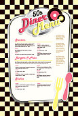 Retro 50s style diner menu.  Black and yellow checkered background.  Vector illustration.suitable for restaurant menus, signage on windows or doors . Food and drink, diner, retro. Fork and spoon, old fashioned,50s,booth, style,  diner, entertainment, stools, eat, music, vinyl records, eclectic, dine in, greasy spoon, late night, drive in, family fun.