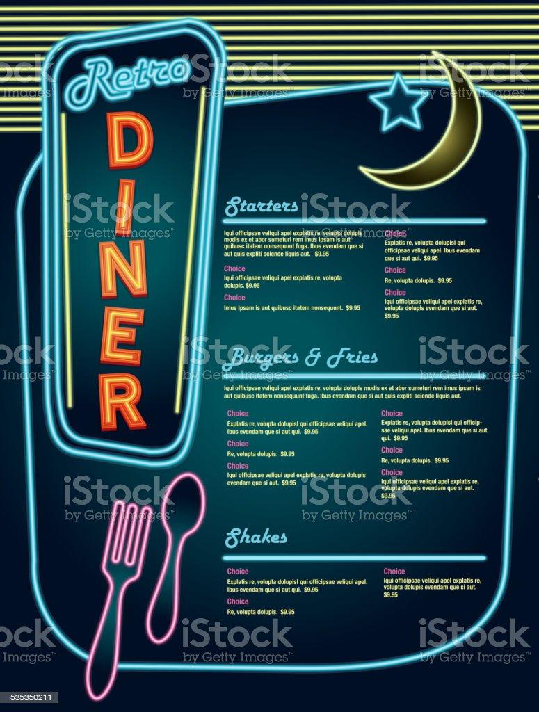 Late Night Retro 50er Jahre Diner Neon Menüs Layout Neon ...