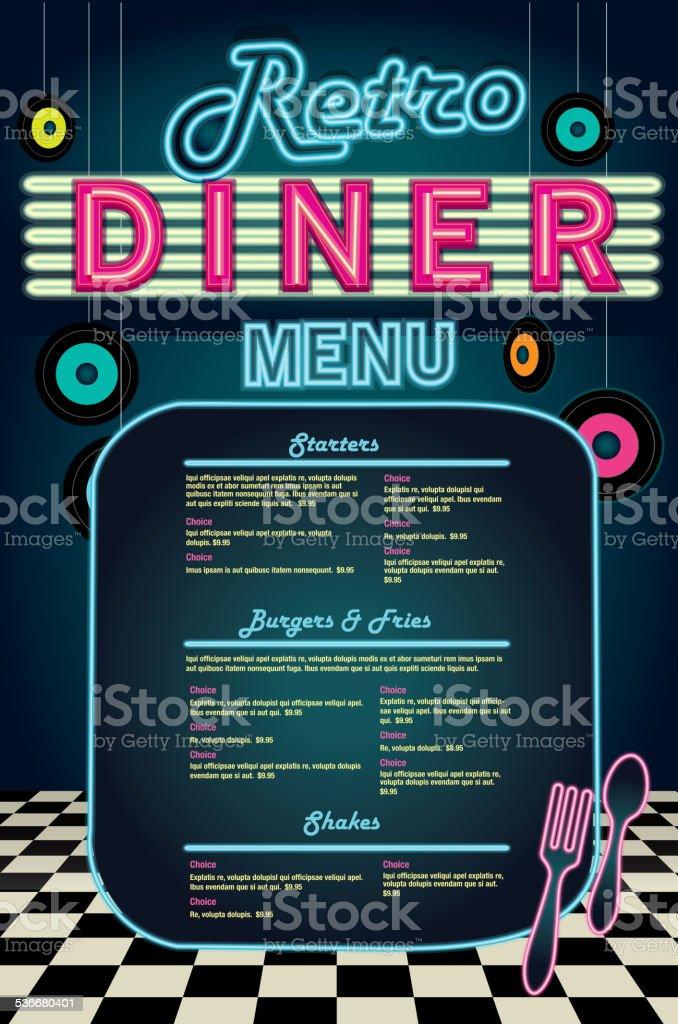 Late Night Retro S Diner Neon Menu Layout Vector Id