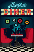 Late night retro 50s Diner scene with people silhouettes