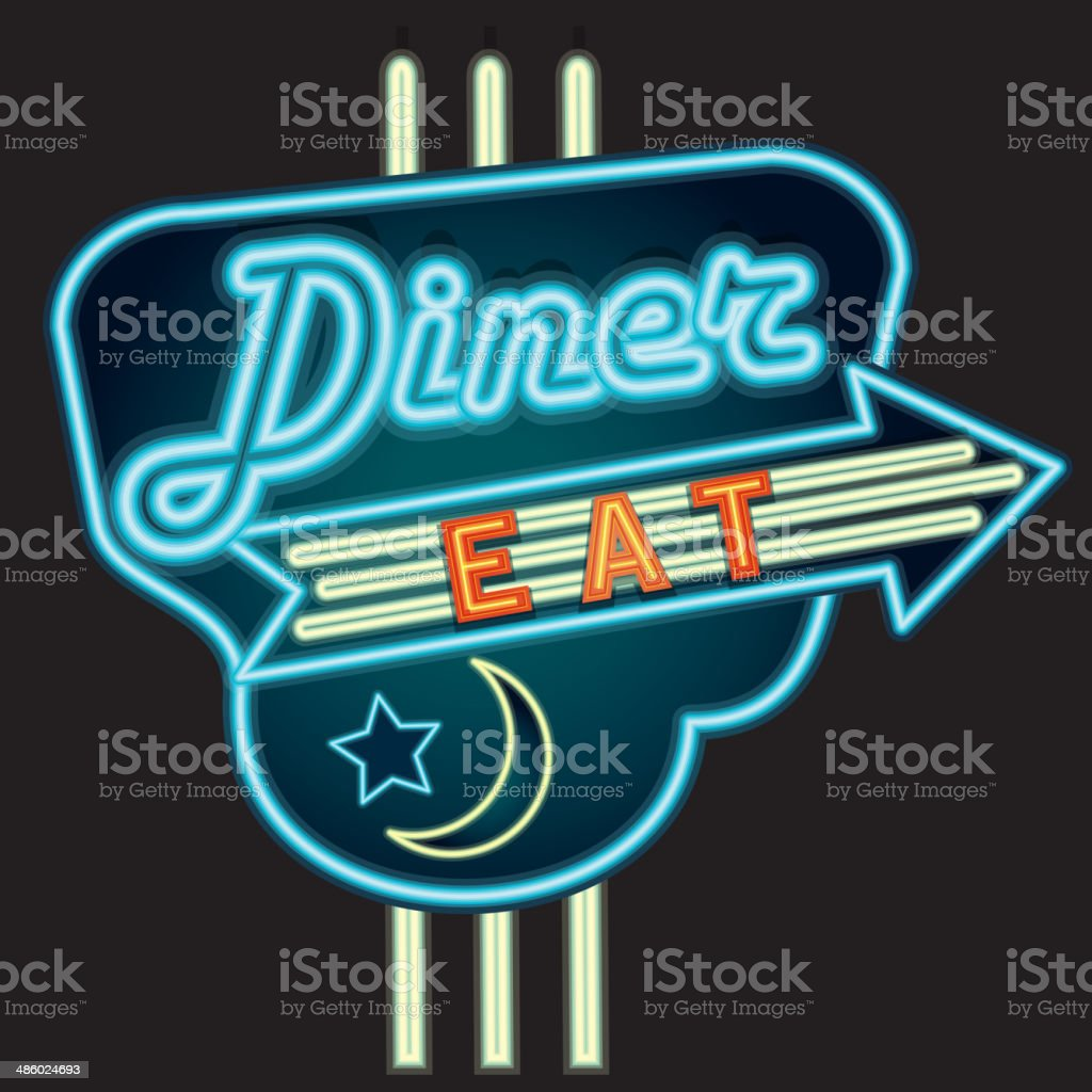 Late Night Retro Diner Neon Sign Royalty Free Stock