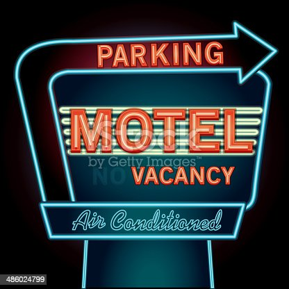 istock Late night retro Motel Neon Parking sign 486024799