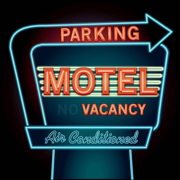 Late night retro Motel Neon Parking sign Late night retro Diner neon sign  vacancy stock illustrations