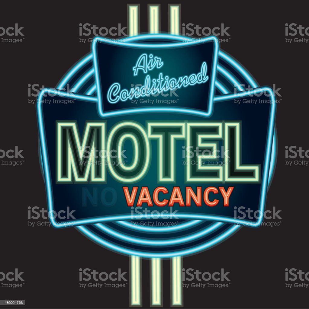 Late night retro Motel Neon sign royalty-free stock vector art