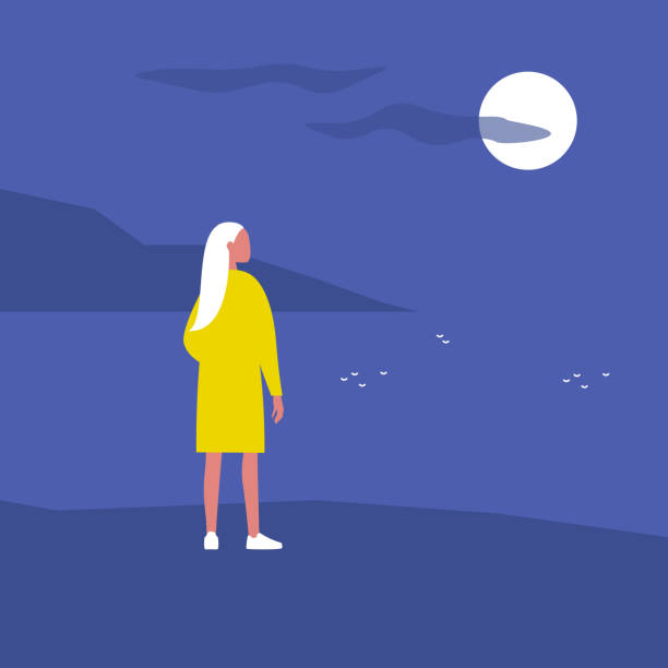Late night walk. Nature. Moonlight. Travel. Solitude. Flat editable vector illustration, clip art. Young female character looking at water Late night walk. Nature. Moonlight. Travel. Solitude. Flat editable vector illustration, clip art. Young female character looking at water tranquil scene stock illustrations