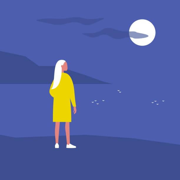 bildbanksillustrationer, clip art samt tecknat material och ikoner med sen kvällspromenad. natur. månskenet. resa. ensamhet. platt redigerbar vektor illustration, clip art. ung kvinnlig karaktär tittar på vatten - stillsam scen