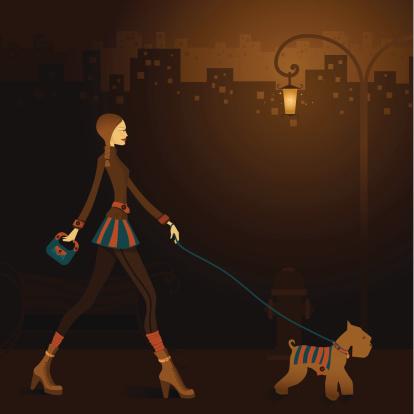 Late night walk - Vector & Jpg