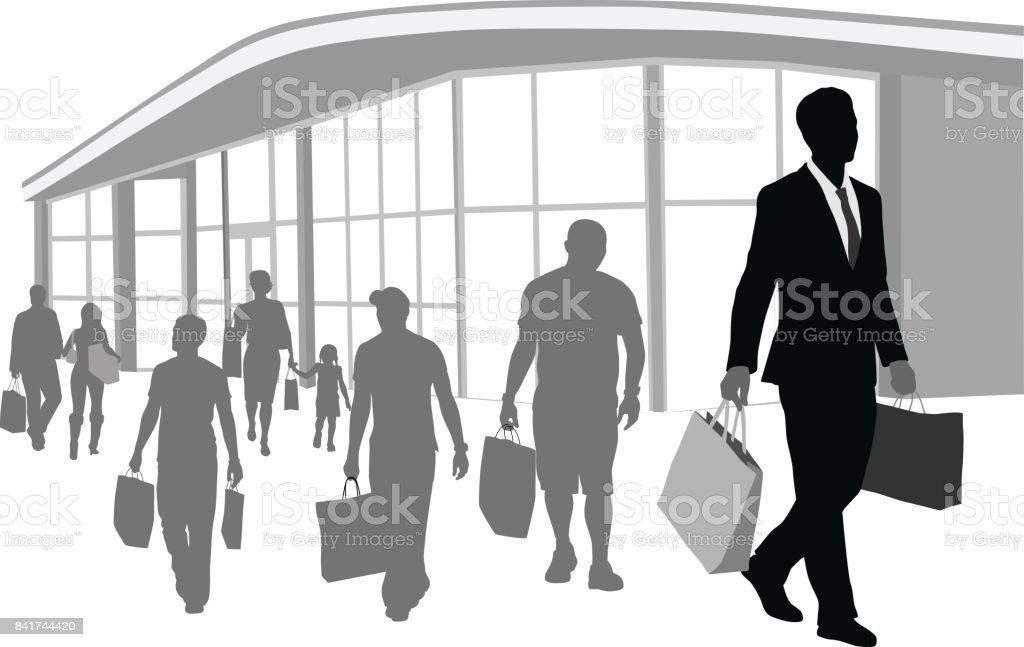 Late Shopping Spree vector art illustration