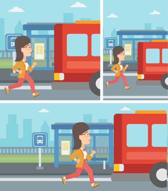 ilustrações de stock, clip art, desenhos animados e ícones de latecomer woman running for the bus - young woman running city