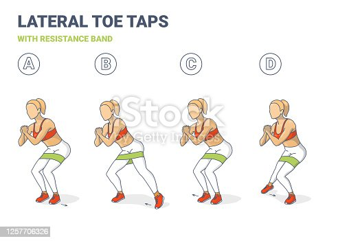 istock Lateral Toe Taps with Resistance Band Girl Silhouettes. Side Toe Steps with Mini-band Home Workout Exercise Sequentially 1257706326